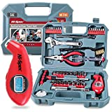 Hi-Spec 65 Piece Automotive Tool Set with SAE & Metric Sockets Including Spark Plug Sizes, Pliers, Spark Plug Gap Gapper, Tire Gauge & More in Storage Case Automotive Maintenance and Repair Tool Kit