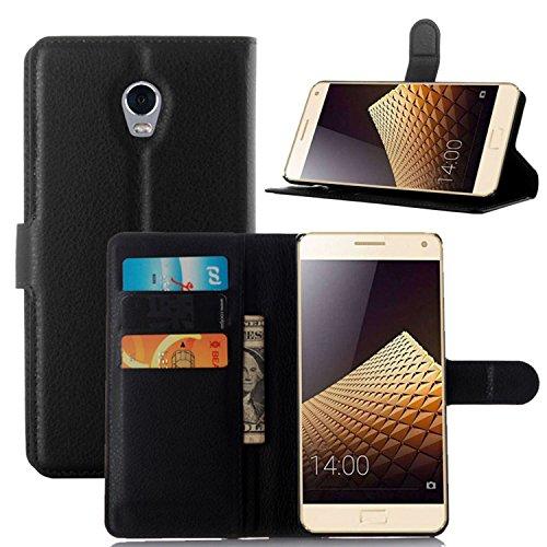 Tasche für Lenovo Vibe P1 Hülle, Ycloud PU Ledertasche Flip Cover Wallet Hülle Handyhülle mit Stand Function Credit Card Slots Bookstyle Purse Design schwarz