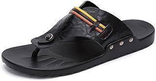 Z.L.FFLZ Men Sandals Men's Thong Flip Flops Shoes Wide Band PU Leather Beach Slippers Non-slip Sandals guess (Color : Blac...