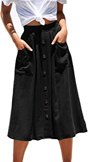 Womens Casual Front Button A-Line Skirts High Waisted Midi Skirt with Pockets