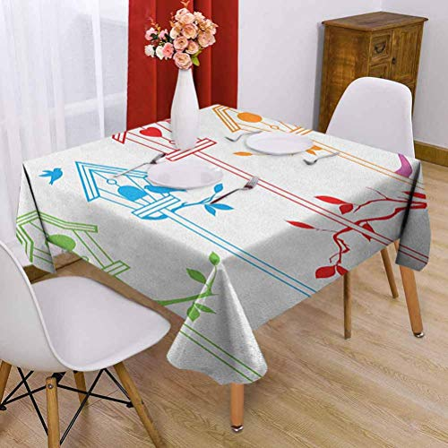 VICWOWONE Birds Square tablecloth party 60 x 60 inch Sweet Colorful Bird Houses Nest with Flying Birds on the Roof Branches Animal Life Soft to the touch Multicolor