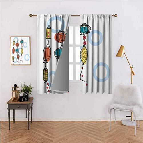 Lantern Decor Collection - cortina oscurecedora para salón o recámara, diseño de farolillos orientales coloridos decorativos, modernos, estilo farolillos de fuego