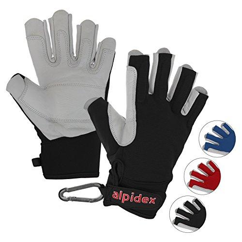 ALPIDEX Klettersteighandschuhe Unisex Echtleder Lederhandschuhe Kletterhandschuhe Half Finger Gloves Via Ferrata, Größe:S, Farbe:Wild Black