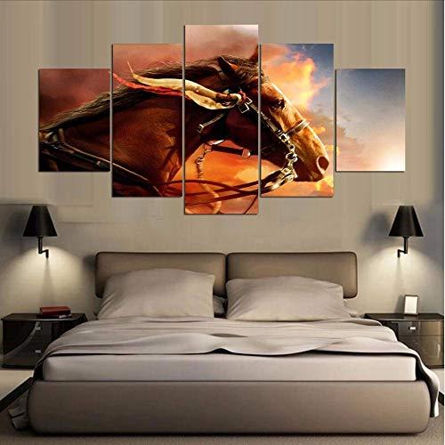 Modulare Vintage Bilder Dekoration 5 Stücke Tier pferd Gemälde Auf Leinwand Wandkunst Für Wohnzimmer HD Gedrucktleinwand gemalde abstrakt-20x35/45/55cm,with frame