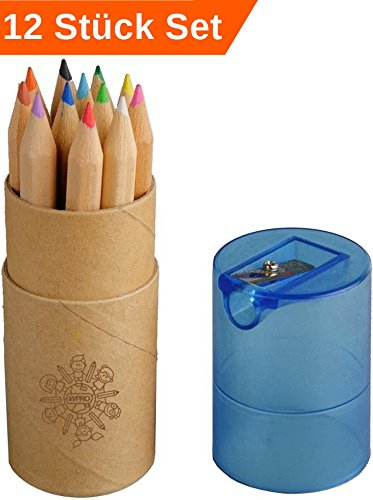 WPRO 12x Kinder Mini - Buntstifte 12 Stück Toby | Geburtstag | Geschenk | Mitgebsel | Schule | Holz, Dose & Anspitzer – Werbeprodukt