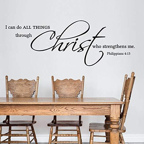 Promini Schrift Ik Kan Alle Dingen Ik Kan Alle Dingen Doen Door Christus Die Versterkt Mij Filippijnen 4 13 Muur Art Muursticker Window Decal 12