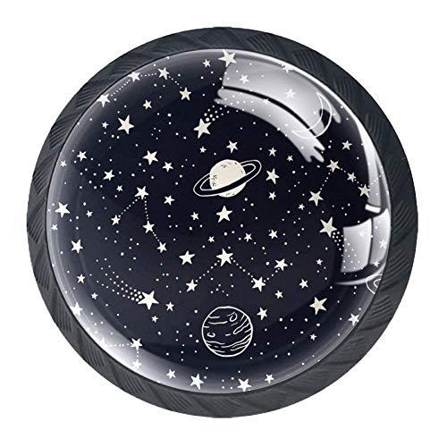 Kommodengriffe Gold Schubladengriffe 4 Stück Küche Schrank Tür Griffe Dekoration Hardware bunt, Sternbilder und Sterne, 3.5×2.8CM/1.38×1.10IN