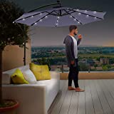 Divine Style Cantilever Parasol Premium Garden Parasol Umbrella with 24 Integrated Solar Powered LED Lights for Outdoor Patio with FREE Waterproof Cover (Urban Grey)