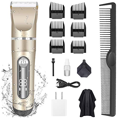 barber shop clippers KERUITA Electric Hair Clippers for Men Quiet LED Display Cordless Rechargeable Hair Trimmers Set, IPX7 Waterproof Haircut Barber Trimmer Kit with Hairdressing Cape (Gold)