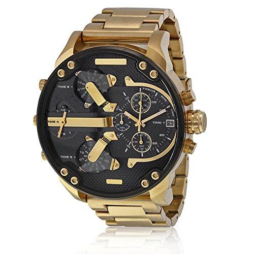 Armbanduhr Männer Edelstahl Analog Quarzuhr Lederband Uhr Herren Sport Quarzuhr mit großem Zifferblatt Uhr für Herren