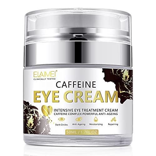 Crema para ojos de cafeína, crema antiarrugas para ojeras y bolsas con colágeno, bolsillos y patas de ganso para hombres y mujeres