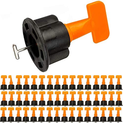 Fliesen Nivelliersystem, für 2-8 mm Fugen und 5-18 mm starke Fliesen, 50er Pack, Montagehilfe für Fliesen, Wiederverwendbar, Fliesen Montage KIT, Fliesenkeile und Zuglaschen, Verleghilfe, Zubehör
