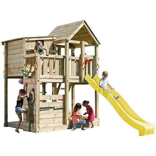 Demmelhuber Spielturm Palazzo mit Rutsche Kletterturm Sandkasten Spielhaus Lenkrad Kletterwand (Gelb)