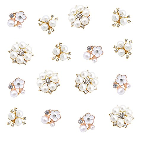 ❤Material: pearl flower buttons are made of alloy,artificial pearl and rhinestone,beautiful,shining and charming. ❤Unique Design: the rhinestone pearl embellishment has flatback button and shiny rhinestones combined with pearls which are stylish and ...