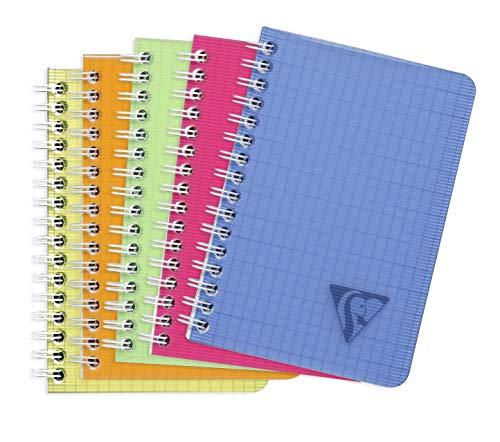 Clairefontaine 328425C - Un carnet à spirale Linicolor 100 pages 9x14 cm petits carreaux, couverture polypro (plastique) couleur aléatoire Fresh
