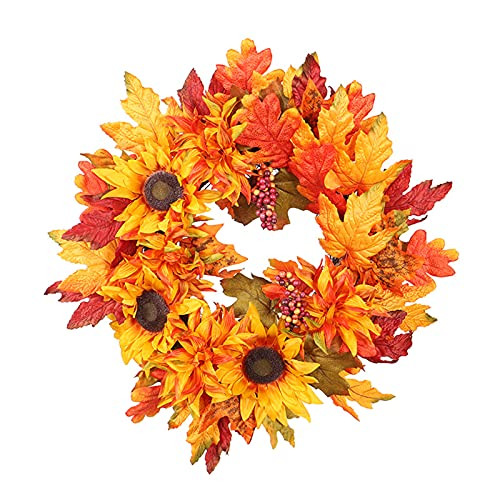 FXforer 20Inch Fall Maple Leaf Sunflower Wreath,Artificial Autumn Front Door Wreath,Harvest Pinecone Decorative Wreath for Wall Window Thanksgiving Halloween Everyday Home Decoration