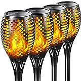 Tacopet Solarleuchten für außen, 4 Stück Solarlampen Flackernd Gartenfackel Flammenlicht Fackeln IP65 Wasserdicht Automatische Ein/Aus für Hinterhöfe, Gärten