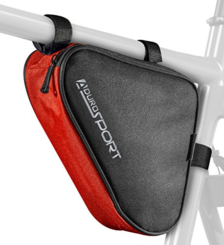 For Sale! Aduro Sport Bicycle Bike Storage Bag Triangle Saddle Frame Strap-On Pouch for Cycling (Red...