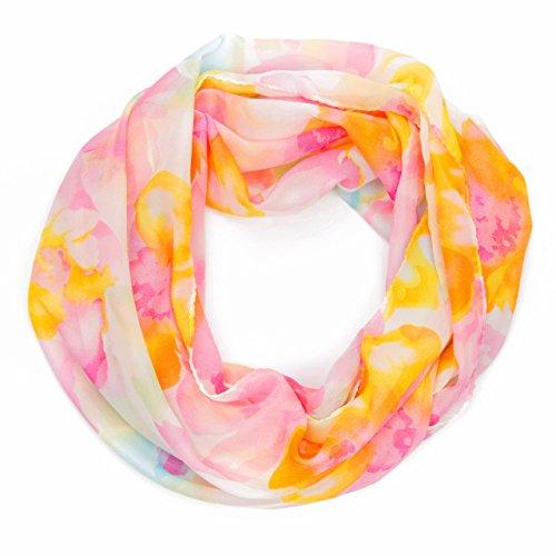 MANUMAR Loop-Schal für Damen | Hals-Tuch in gelb mit Blumen Motiv als perfektes Herbst Winter Accessoire | Schlauchschal | Damen-Schal | Rundschal | Geschenkidee für Frauen und Mädchen