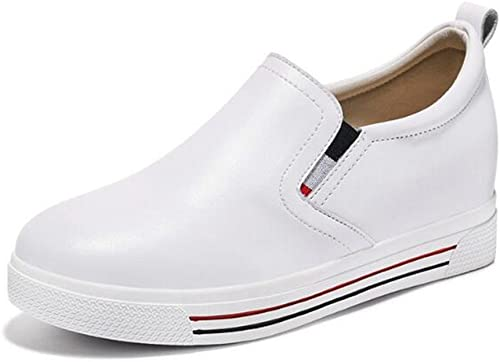 schuhe de damen Spring Fall schuhe Casuales de Cuero, Invisible Increase Loafers, Flat Little Weiß schuhe