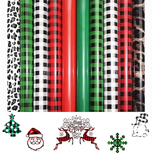 10 Sheets Christmas Heat Transfer Vinyl HTV Bundle TPU Buffalo Plaid Leopard Print Iron-on Vinyl Assorted for DIY T-Shirt Fabric Clothes Bag Hat Crafts, 12 x 10 Inch (Red, White, Black, Green)
