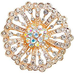 Lidahaotin Women Girl Circle Shaped Rhinestone Brooch Scarf Buckle Alloy Breastpin Clothing Pin Jewelry Gifts gold:Hitspoker