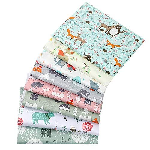 8 Piezas de tela 100 % algodón de 40 x 50 cm para patchwork; retales de algodón con motivos de rinocerontes, osos y otros animales, para manualidades, costura, scrapbooking