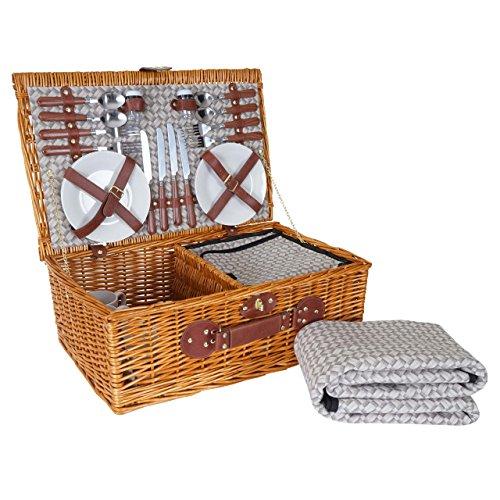 Mendler Picknickkorb-Set HWC-B25 für 4 Personen, Weiden-Korb + Kühlfach + Picknickdecke, Porzellan Edelstahl, beige