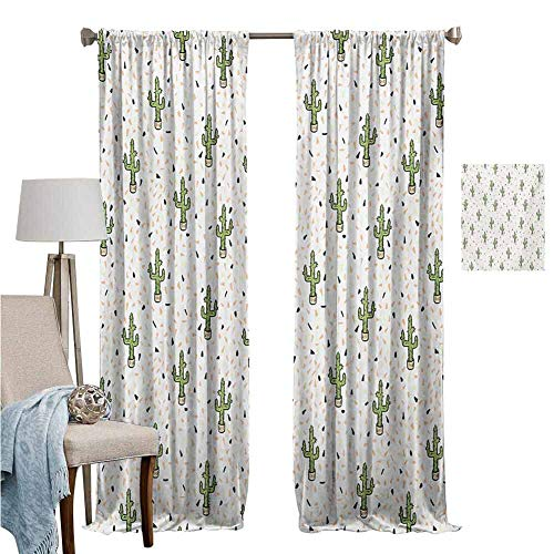 Wear pole curtains Curtains for Kitchen Cartoon Cactus Plant Pots Tropical Safari Climates Western Saguaro Foliage Earthy Multicolor Thermal Insulated Blackout Curtains Set of 2 Panels W96'x L84'