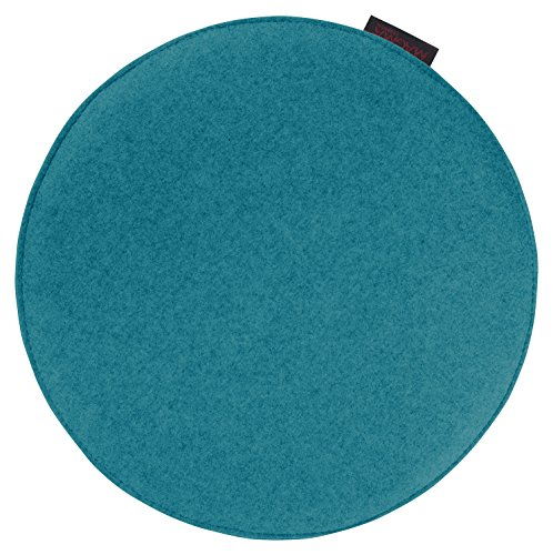 """Stuhl-/Sitzkissen """"Avaro"""" Filzoptik, rund ca. 35x2 cm, in frischen kombinationsfrohen Uni-Farben, Sitzkomfort für alle Gelegenheiten (petrol)"""
