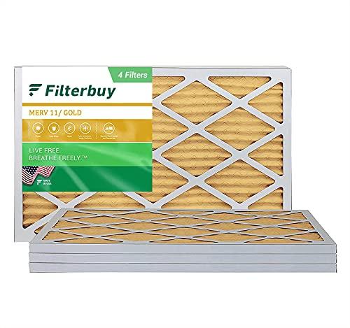 FilterBuy 10x30x1 Air Filter MERV 11, Pleated HVAC AC Furnace Filters (4-Pack, Gold)