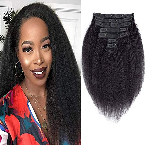 """Comely Hair Afro Kinky Curly Clip Ins Human Hair Extensions Full Head Thick Unprocessed Brazilian Virgin Hair 4B 4C Clips In For Black Women Double Weft 7Pcs/90Grams (afro curly 10"""")"""
