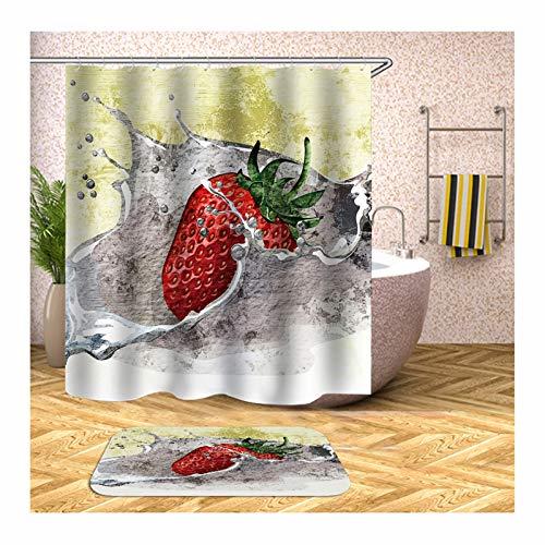 Epinki Duschvorhang und Badezimmerteppich Set Waschbar aus Polyester 3D Digitaldruck Erdbeere Muster Badewannenvorhang Badvorleger Bunt mit 12 Duschvorhangringen für Badezimmer - 150x180CM