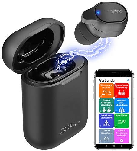 Callstel Translator: 2in1-Live-Übersetzer und In-Ear-Mono-Headset mit Powerbank-Box & App (Reiseübersetzer)
