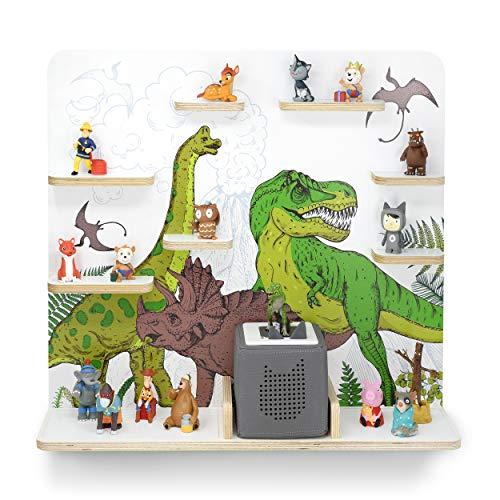 Kinder Regal für Musikbox I Motiv Dinomania I Geeignet für die Toniebox und ca. 45 Tonies I Geschenk I Geschenkidee I Spielen I Sammeln I Aufstellen oder Aufhängen
