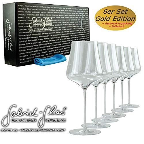 Palatina Werkstatt ® Gabriel Glas | Gold Edition im 6er Geschenkkarton| mundgeblasenes Weinglas | nur 90 Gramm leicht | spülmaschinenfest + speziellem Gläserpoliertuch