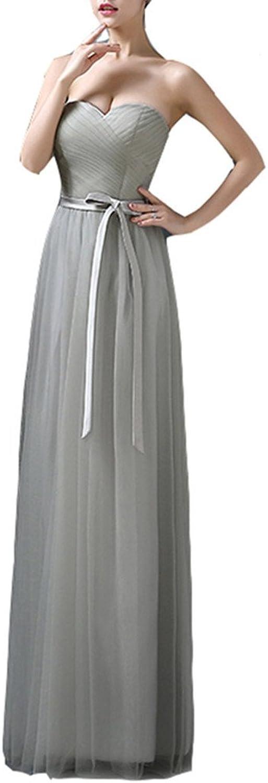 Emmani Women's Sweetheart Sashes Tulle Long Formal Evening Dresses