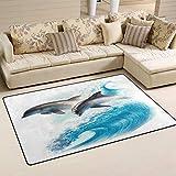 SunsetTrip - Alfombra para sala de estar, dormitorio, diseño de delfín náutico, suave, lavable, 152,4 x 99,1 cm