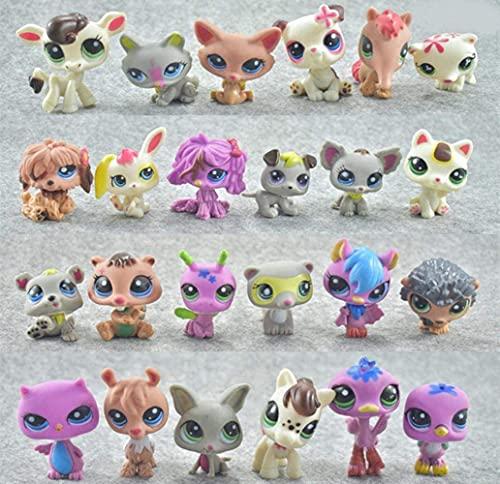 fyb 24 pcs/Ensemble Mini Petits Poupées Animaux Rare Pet Shop Figurines Tigre Littlest Chat Chien Teckel Collie Chat Patrulla Canina Jouet, A-24 pcs