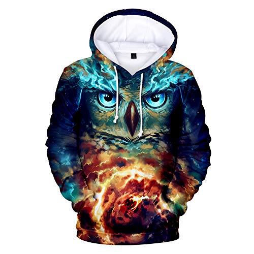 BRILIGHTEN 3D Drucken Hoodies Pullovers,Blaue Lila Eule Casual Kapuzenshirt Pullover mit Tunnelzug,2XL