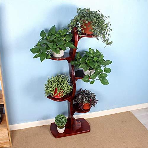 ChenDz Support à fleurs Support à fleurs en bois massif/Support à fleurs à 5 niveaux pour salon intérieur/Balcon/Jardin/Jardin Pot de fleur plante Bonsai, brun rougeâtre-52x28x121cm