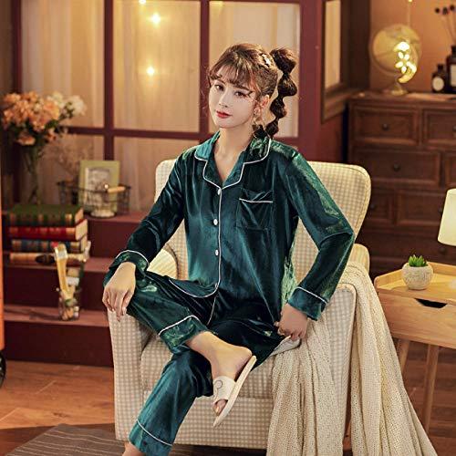 Cálidos Pijamas para Mujer,Conjunto De Pijama De 2 Piezas De Terciopelo Verde Oscuro para Mujer, Conjunto De Vestido Vintage De Invierno De Color Sólido, Ropa De Dormir Sexi para