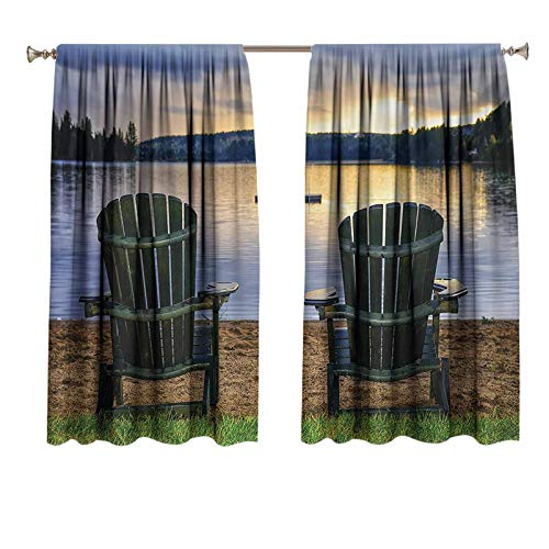 Seaside Curtain Rods Two Wooden Chairs on Relaxing Lakeside at Sunset Algonquin Provincial Park Canada Extra Long Curtain Drapes Navy Green 55x39 inch