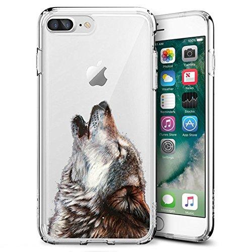 Crown iPhone 7 Plus 8 Plus Case Customized Design Anti-Scratch Flexible Shock Absorption Soft TPU Protective Phone Case for iPhone 7 Plus 8 Plus-Clear (Roar Wolf)