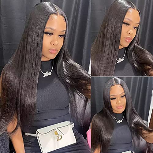 T-part Lace Front Human Hair Wigs 100% Unprocessed Straight Human Hair Wigs for Black Women Middle Part Natural Color Wig Medium Brown Lace 150 Density 14 Inch