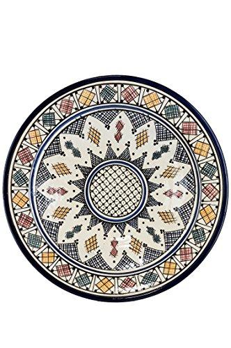 Orientalische Keramikschale Keramikteller Rund Aysun Ø 40cm Groß | farbige marokkanische Keramik Schale Teller bunt aus Marokko | Orient große Keramikschalen flach Geschirr orientalisch handbemalt