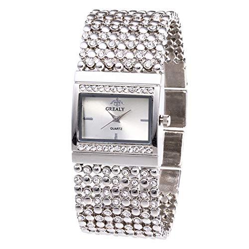 Skang Deman Quadrat Uhren Quartz, Diamant Strass Armbanduhr, Vintage Elegant Armbanduhren, Idealer Begleiter Für Jede Gelegenheit(one Size,Silber)