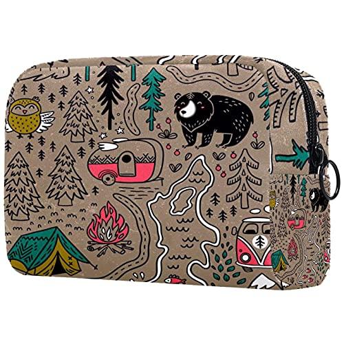 Bolsa de Maquillaje de Viaje cosméticos pequeñas para Mujer Cremallera portátil de Gran capacidadMapa Divertido Camping Animales para el Uso Diario del Bolso