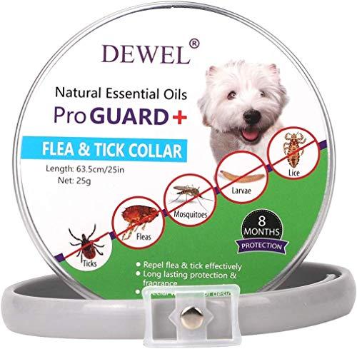 DEWEL Collares Antiparasitos para Perros y Gatos contra Pulgas,Garrapatas y Mosquitos,Tamaño Ajustable e Impermeable para Mascota Pequeño Mediano