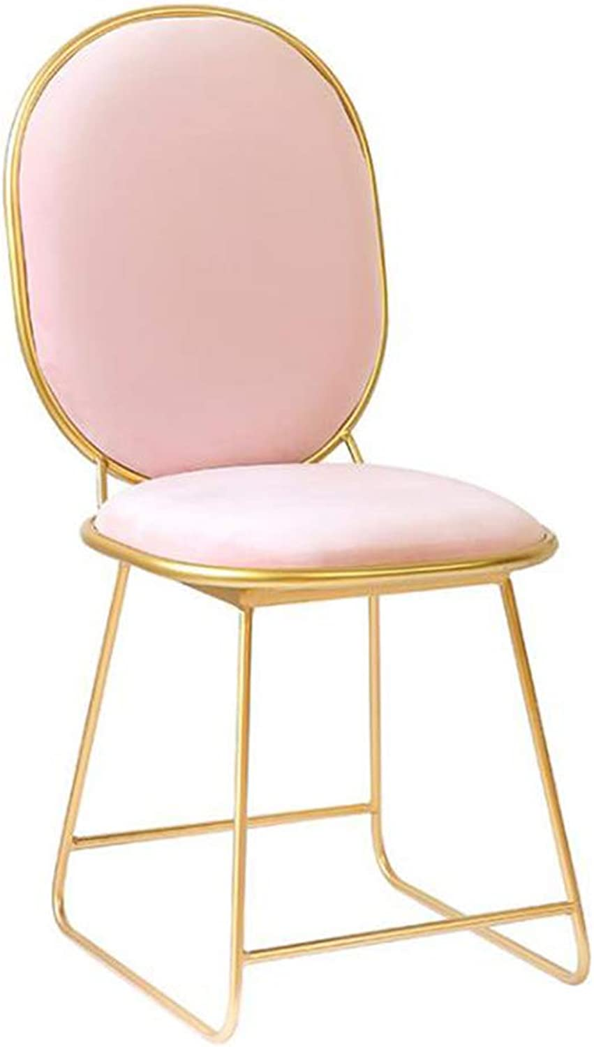 Makeup Chair Nordic Restaurant Chair Iron Dining Chair Net Red Hotel golden Chair Creative Chair Bedroom Living Room Metal Dressing Chair,Pink,40  36  88CM